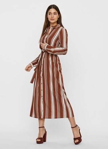 Fabrika Copenhagen Fabrika x Copenhagen Çizgili Kemerli Bordo Uzun Elbise Bordo